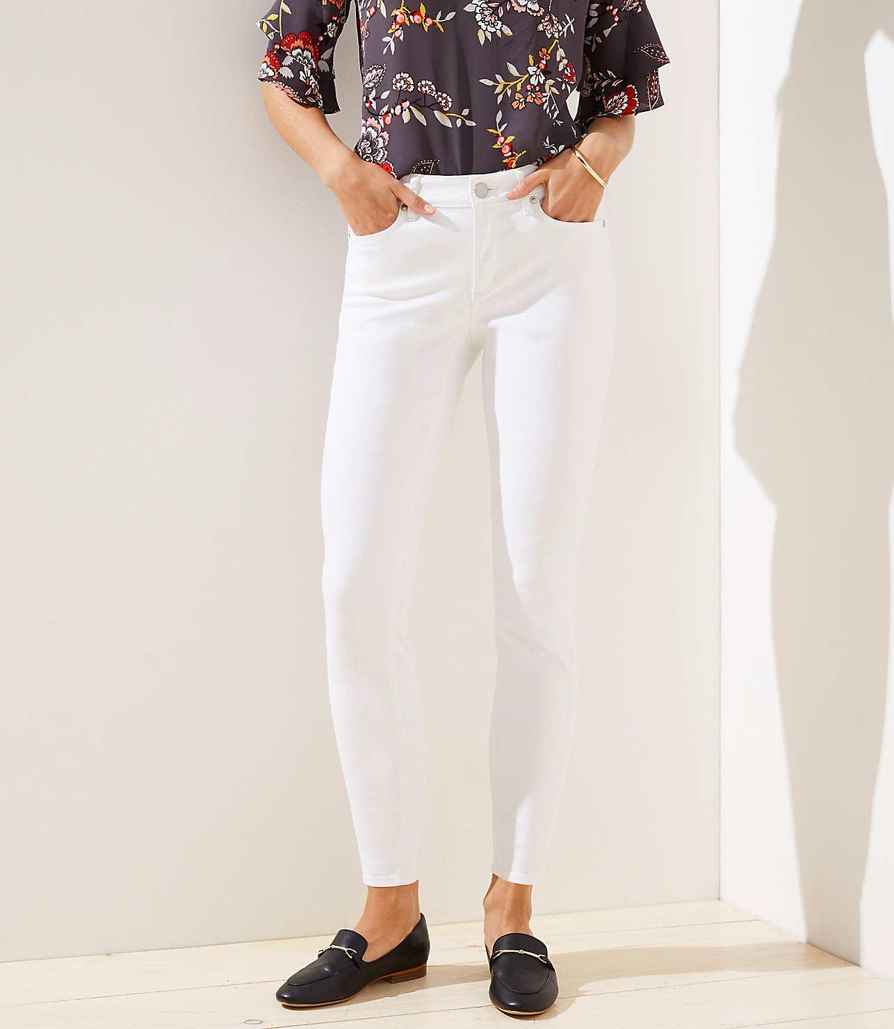 Curvy Slim Pocket Skinny Jeans in White