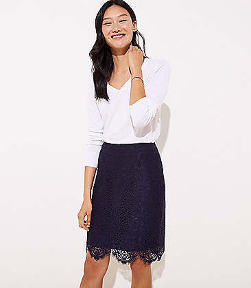 d67f8dd191 Scalloped Lace Pencil Skirt