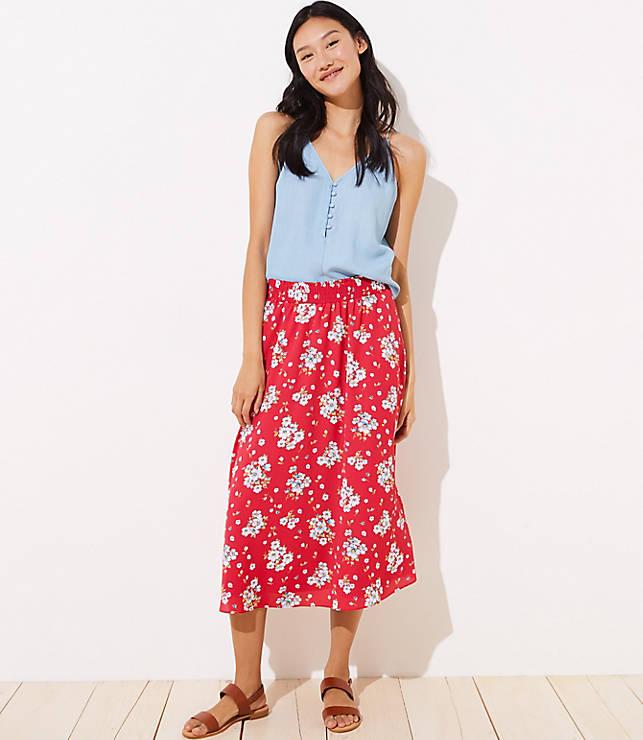 6eaf33b295 Floral Smocked Maxi Skirt | LOFT