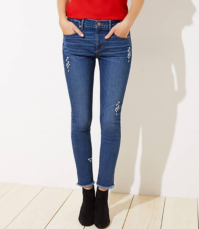 1ee5c50c1d498 Curvy Floral Embroidered Slim Pocket Skinny Jeans in Original Mid Indigo  Wash
