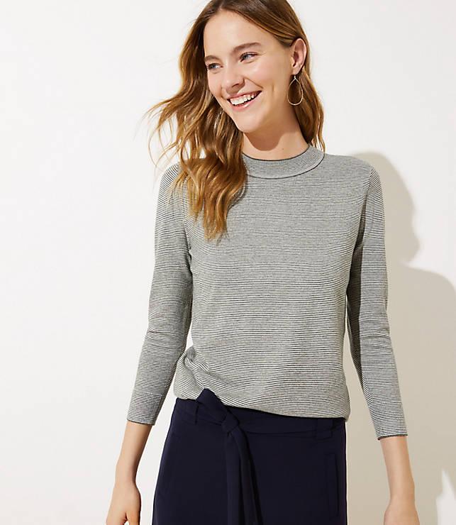 Petite Striped Mock Neck Sweater