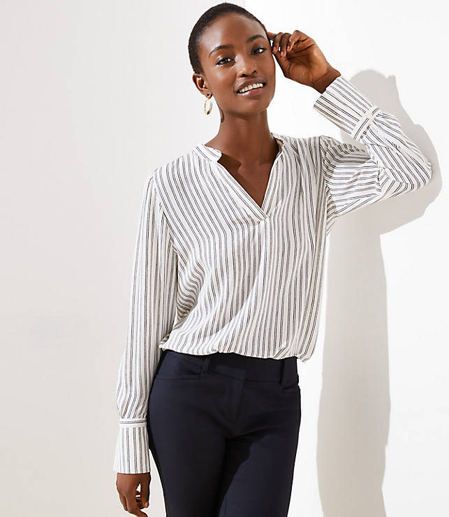 dbc5579ff2 Striped Split Neck Blouse | LOFT