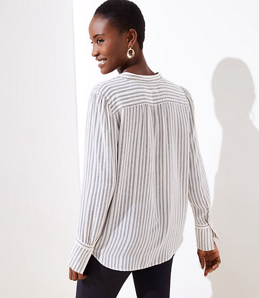 142f00590a Image 2 of 3 - Striped Split Neck Blouse
