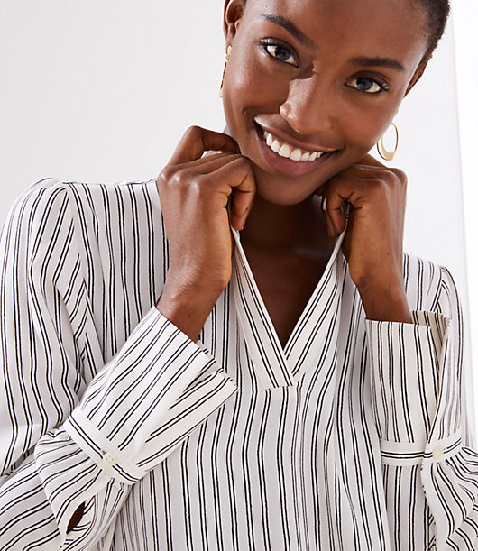 0e1c10515b Image 3 of 3 - Striped Split Neck Blouse