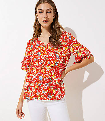 57ffe3db01a Floral V-Neck Flutter Top