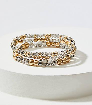 Gilded Beaded Stretch Bracelet Set
