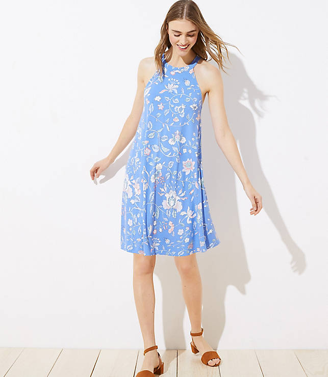 Floral Cutout Back Halter Swing Dress by Loft
