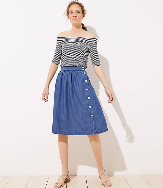 2dd1fd1c52ea4b Side Button Chambray Skirt | LOFT