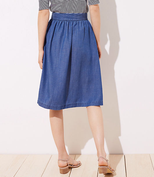 d3c629f76f0b12 Image 3 of 3 - Side Button Chambray Skirt