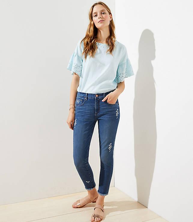 Petite Modern Floral Embroidered Frayed Skinny Jeans in Original Mid Indigo Wash