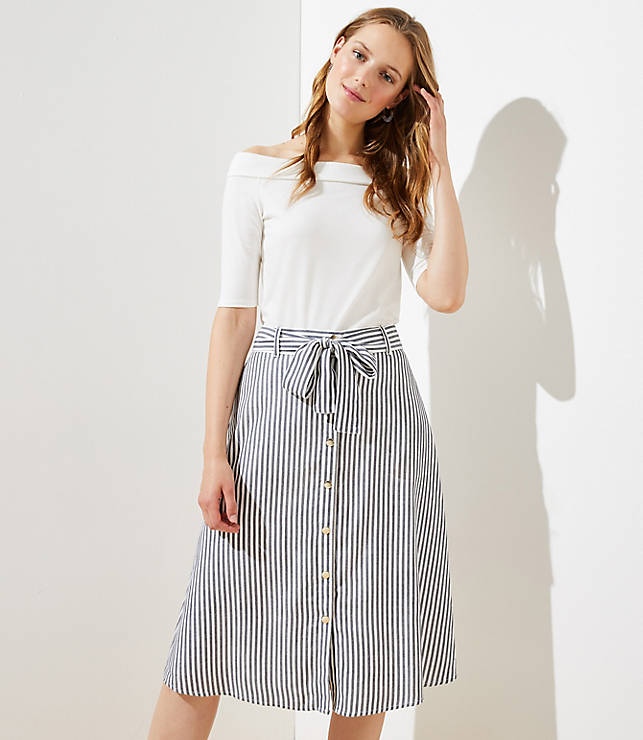 Striped Tie Waist Button Front Skirt by Loft