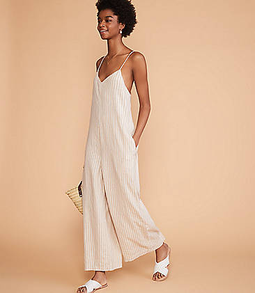 f166d9f1d8b9 ... 128 Lou   Grey Striped Strappy Linen Jumpsuit