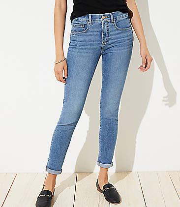 5689d551a3ea16 Curvy Soft Slim Pocket Skinny Crop Jeans in Pure Mid Indigo Wash