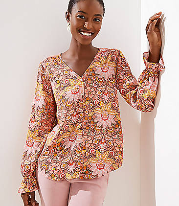 688a42b5605 Paisley Bell Cuff Button Front Blouse
