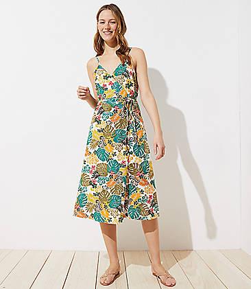 5d1ea56f07f LOFT Beach Tropical Wrap Midi Dress