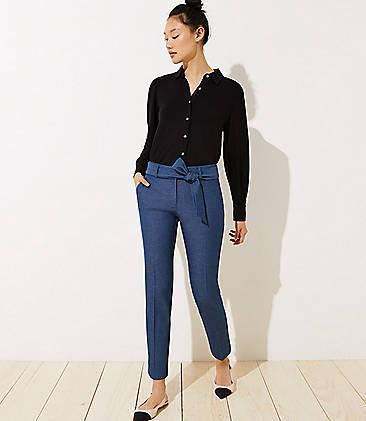 83a10b86b57 Petite Slim Tie Waist Pencil Pants in Custom Stretch in Marisa Fit