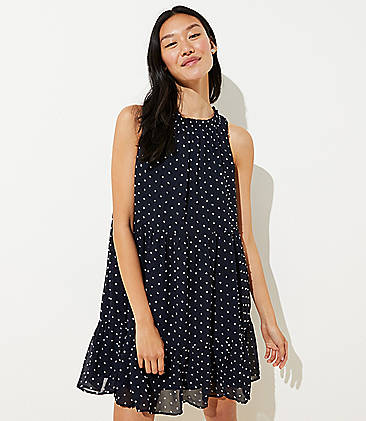 d0af9b20357 Dotted Tiered Swing Dress