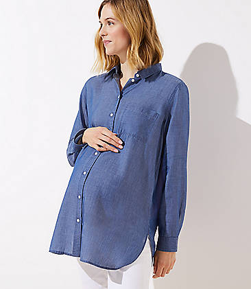 9212685ae2dd Maternity Chambray Button Down Shirt