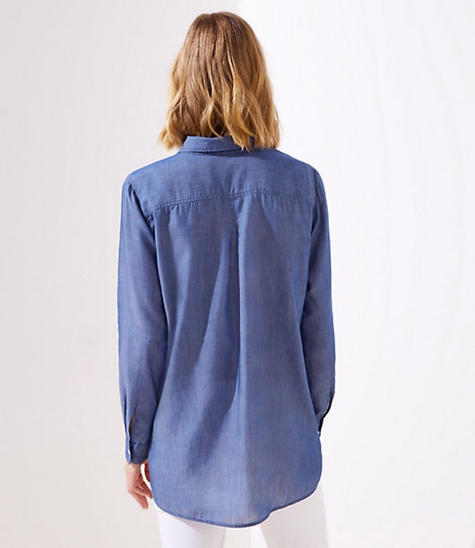 3852c6a3 Image 3 of 3 - Maternity Chambray Button Down Shirt