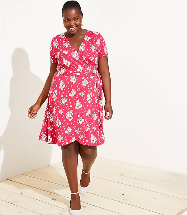 93c1d0c079 LOFT Plus Floral Wrap Dress