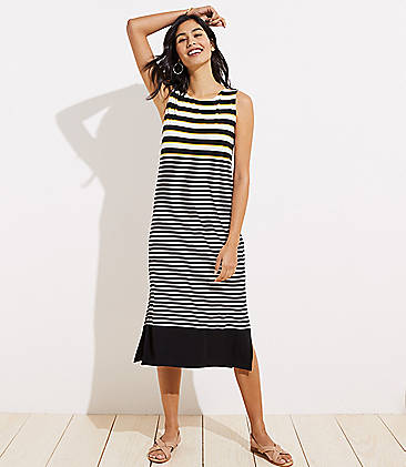 866f9467e70 Mixed Stripe Cutout Back Midi Dress