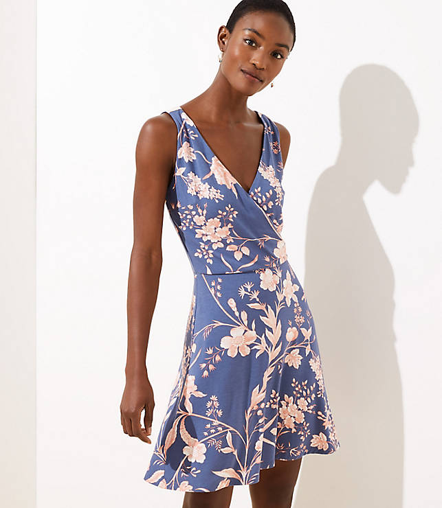 Floral Wrap Back Flare Dress by Loft
