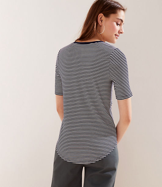 929980ea3f Image 3 of 3 - Striped Henley Ribbed Tee