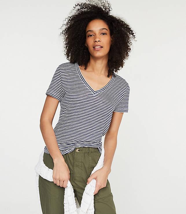 b361874e49 Lou & Grey Striped Linen V-Neck Shirttail Tee | LOFT