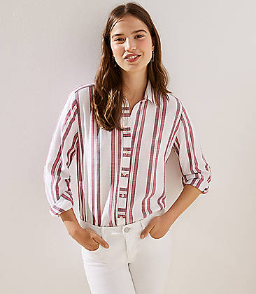 57c2573a Striped Button Down Tunic Shirt