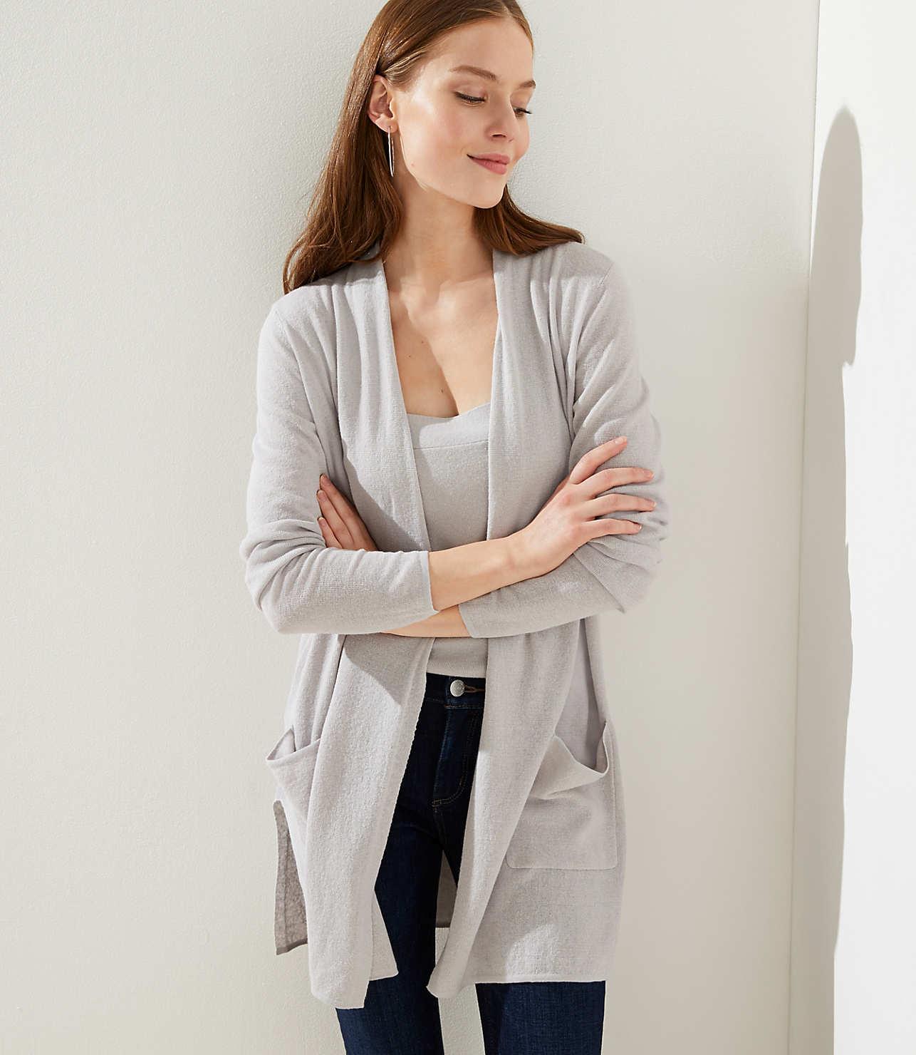 online retailer 5bfe3 1321f Linen Blend Pocket Duster Sweater | LOFT