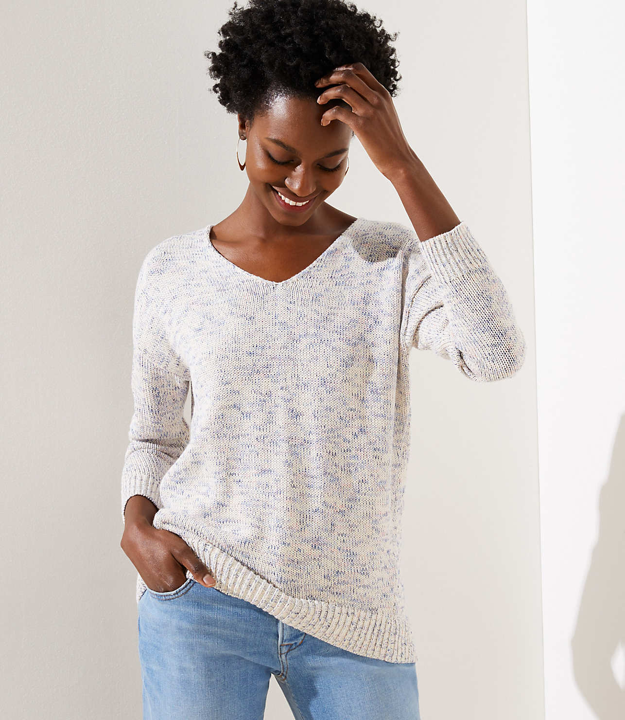 Speckled Double V Sweater by Loft