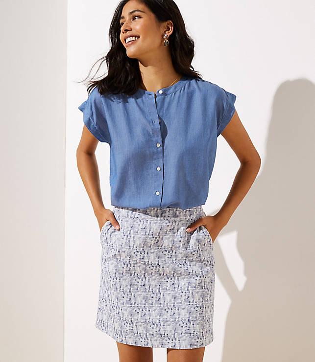 Petaled Jacquard Pocket Shift Skirt by Loft