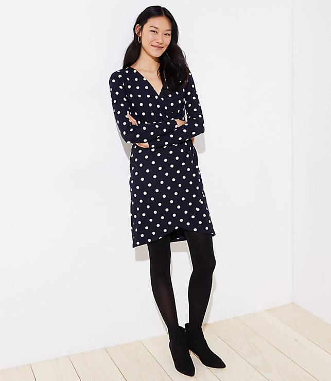 Petite Polka Dot Wrap Dress