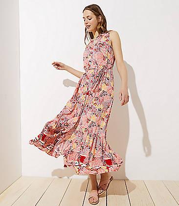 737486f3e52 LOFT Beach Palm Leaf Tie Waist Maxi Dress