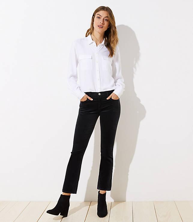 Petite Velvet Flare Crop Jeans