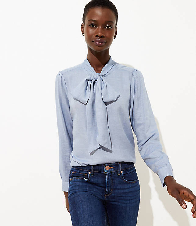 a944a494d63 Chambray Tie Neck Blouse