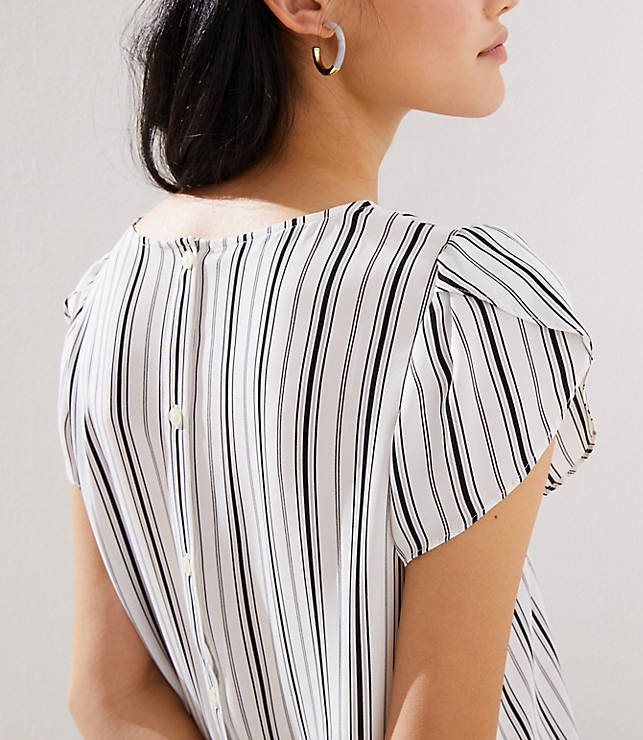 10c300b24a Striped Tulip Sleeve Button Back Top | LOFT