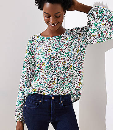 Floral Draped Sleeve Top 697aa2bdcc05