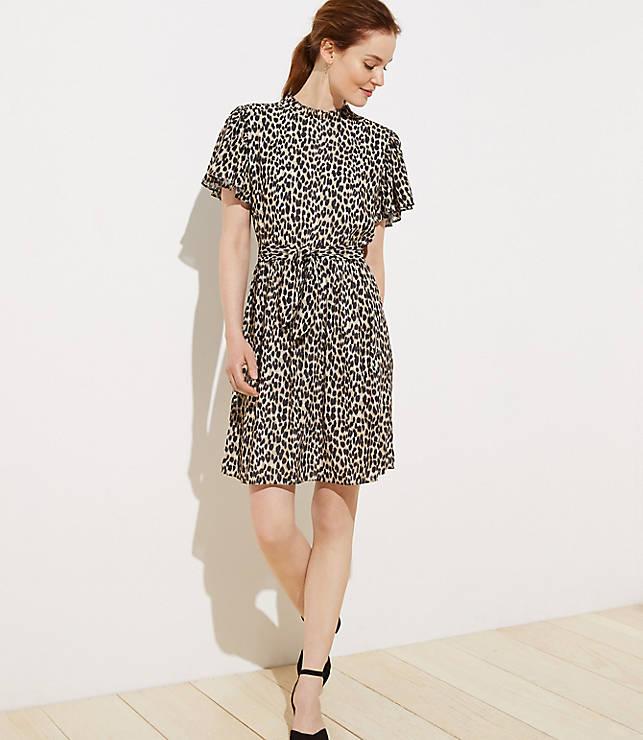 eb98fc50b3fe Petite Leopard Print Tie Waist Flutter Dress   LOFT
