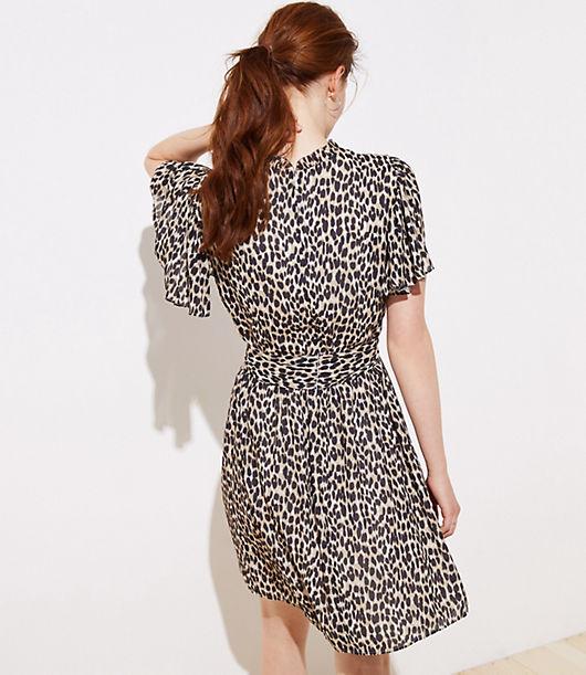 b4bf76868104 Image 3 of 3 - Petite Leopard Print Tie Waist Flutter Dress