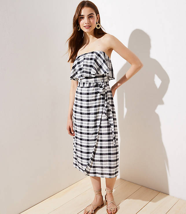 LOFT Beach Gingham Flounce Tie Waist Dress