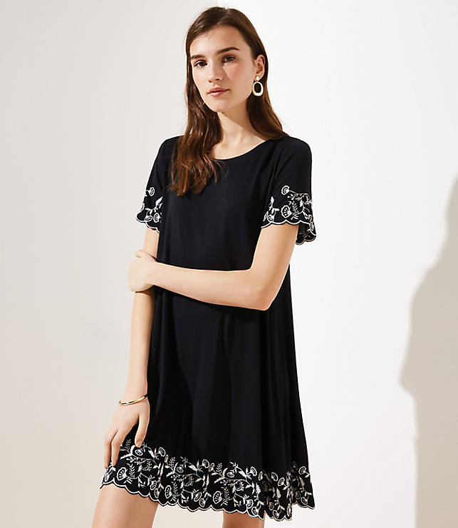 Petite Floral Embroidered Short Sleeve Swing Dress
