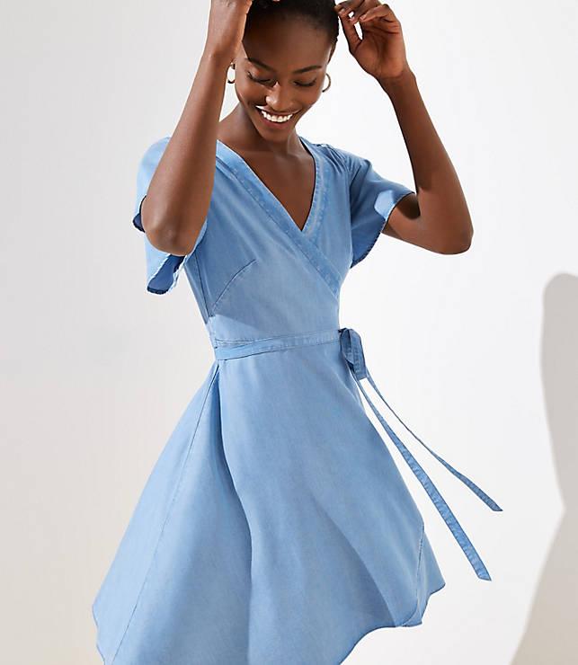 Petite Chambray Wrap Dress