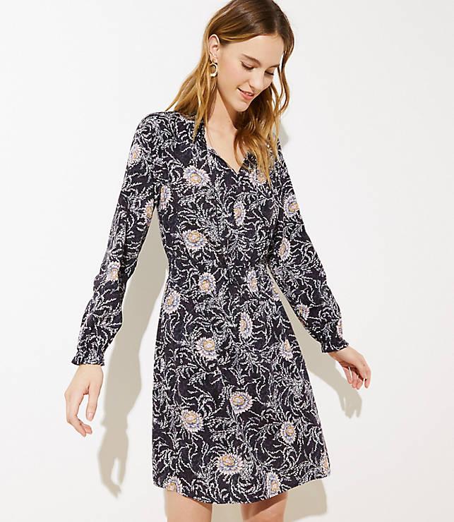 Petite Vine Smocked Trim Dress