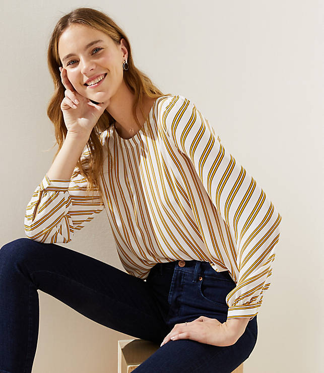 Petite Striped Shirttail Blouse