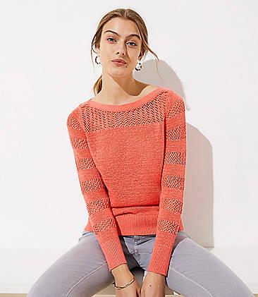 43e0c74090 Petite Striped Mixed Knit Sweater