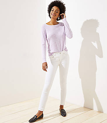 a8c713dfecc Modern Double Frayed Slim Pocket Skinny Jeans in White