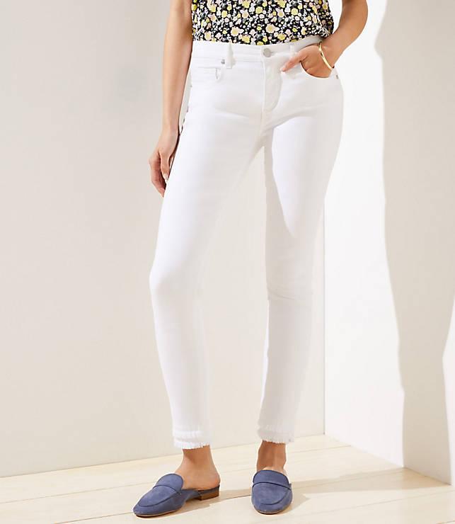 f9b8865456 Curvy Double Frayed Slim Pocket Skinny Jeans in White | LOFT