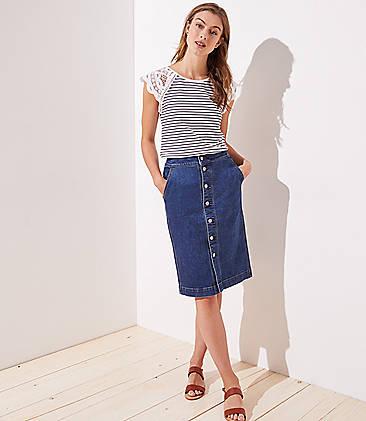 2baa2466618 Petite Denim Button Front Skirt