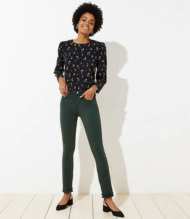 Petite Modern Double Frayed Skinny Crop Jeans in Dark Green